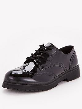 V by Very V By Very Older Girls Brogue Patent Leather School Shoe - Black Picture