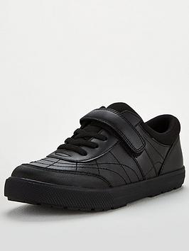 V by Very V By Very Older Boys Lace Leather Trainer School Shoe - Black Picture