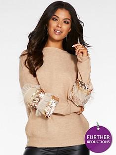 quiz-knitted-sequin-frill-sleevenbspjumper-stone