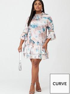 little-mistress-curve-printed-satin-shift-dress-multi
