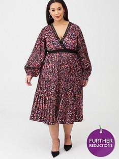little-mistress-curve-printed-and-pleated-midi-dress-multi