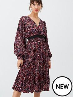 little-mistress-printed-and-pleated-midi-dress-multi