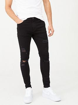 11 Degrees   Essential Super Stretch Distressed Skinny Jeans - Black