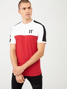 11-degrees-panel-block-t-shirt-redblackwhite