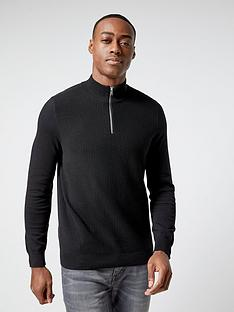 burton-menswear-london-burton-textured-half-zip-knit-black