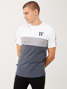 11 Degrees 11 Degrees Triple Panel Taped T-Shirt - Grey/Silver Picture