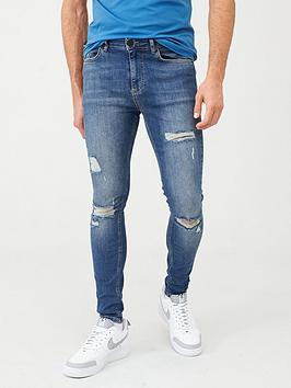 11 Degrees   Essential Super Stretch Distressed Skinny Jeans - Blue