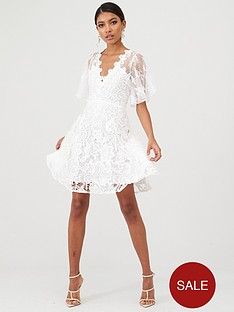 u-collection-forever-unique-floral-lace-skater-dress-ivory