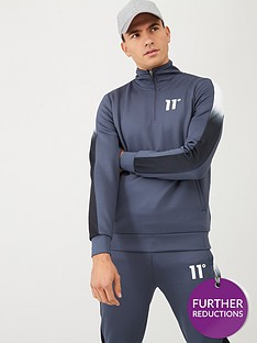 11-degrees-dot-fade-panelled-quarter-zip-track-top-grey