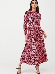 u-collection-forever-unique-leopard-print-midi-dress-pink