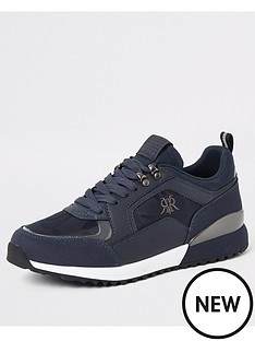 river-island-navy-lace-up-runner-trainers