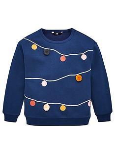 v-by-very-girls-christmas-lights-pom-pom-detail-sweatshirt-navy