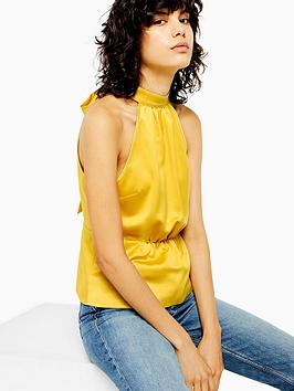 topshop-satin-bow-back-halter-top-mustard