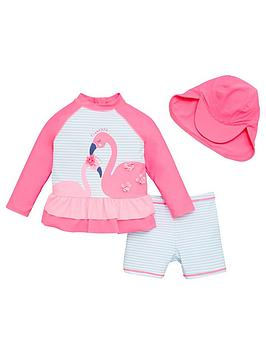 V by Very V By Very Girls Flamingo 3 Piece Frill Sunsafe With Hat Picture