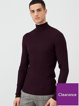 river-island-dark-red-ribbed-roll-neck-long-sleeve-t-shirt