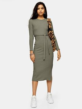topshop-cut-and-sew-belt-midi-dress-khaki