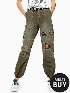 topshop-topshop-ripped-reminbsputility-trouser-khaki