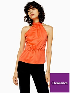 topshop-satin-bow-back-halter-top-orange