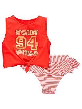 V by Very V By Very Girls 2 Piece 94 Print Tankini Swim Set - Multi Picture