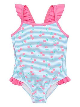 V by Very V By Very Girls Frill Shoulder Cherry Lined Swimsuit - Swimsuit Picture