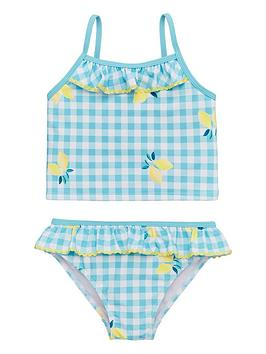 V by Very V By Very Girls Lemon Print Gingham Tankini - Mint Picture