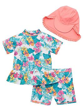 V by Very V By Very Girls Frill Detail 3 Piece Tropical Print Sunsafe With  ... Picture