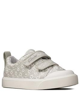 Clarks Clarks Toddler City Bright Canvas Shoe - Silver Picture