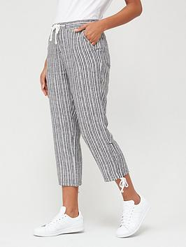 V by Very V By Very Linen Mix Crop Trousers - Stripe Picture