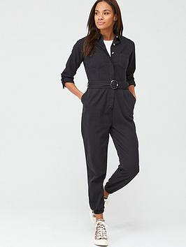 V by Very V By Very Utility Button Up Jumpsuit - Washed Black Picture
