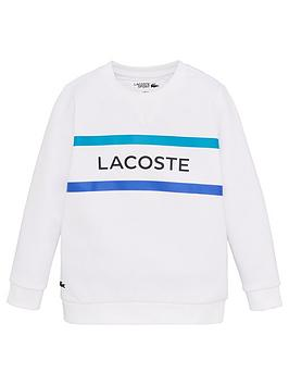 Lacoste Sports  Boys Logo Crew Sweatshirt - White