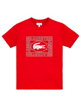 Lacoste Lacoste Boys Short Sleeve Croc Logo T-Shirt - Red Picture