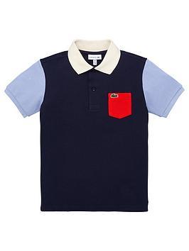 Lacoste Lacoste Boys Short Sleeve Colourblock Polo Shirt - Navy Picture
