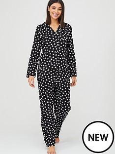 v-by-very-star-woven-button-throughnbsppyjamas-blacknbspprint