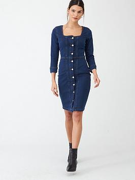 V by Very V By Very Square Neck Denim Button Through Dress - Indigo Picture
