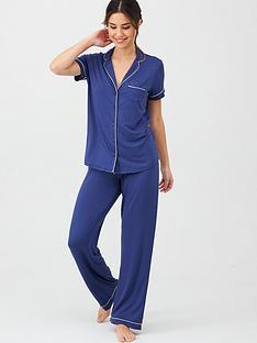 v-by-very-short-sleeve-jersey-revere-pyjamas-navy