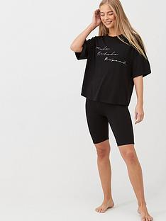 v-by-very-inhale-exhale-repeat-cycling-short-and-long-tee-pj-set-black