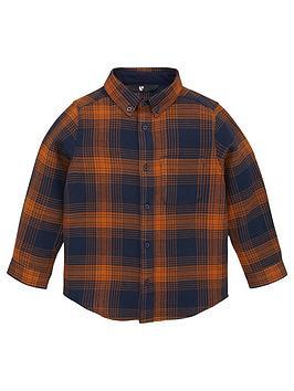 v-by-very-boys-long-sleeve-checked-shirt-mustard
