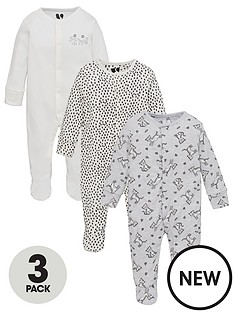 v-by-very-baby-unisex-3-pack-long-sleeve-tiger-sleepsuits-white