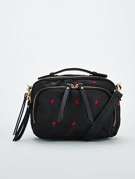 V by Very V By Very Pandora Nylon Embroidered Cross Body Bag - Black Picture