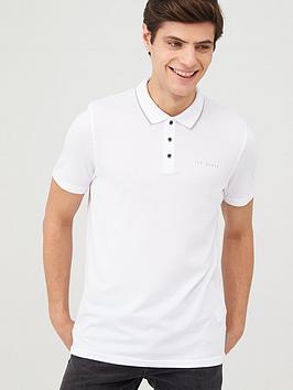 ted-baker-short-sleeve-branded-pique-polo-top-white