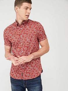 ted-baker-short-sleeve-floral-print-shirt-red