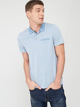 Ted Baker Ted Baker Contrast Collar Polo Shirt - Mid Blue Picture