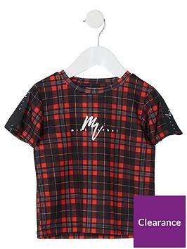 river-island-mini-mini-boys-check-mainson-riviera-t-shirt-black