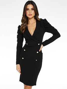 quiz-puff-sleeve-button-midi-dress-black