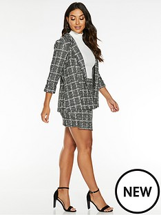 quiz-jacquard-three-quarter-sleeve-blazer-blackwhite