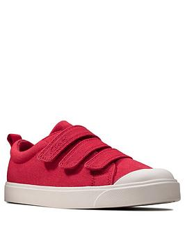 Clarks Clarks Childrens City Vibe Canvas Shoe - Red Picture