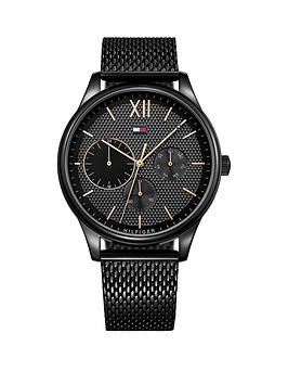 Tommy Hilfiger Tommy Hilfiger Black And Gold Detail Multi Dial Black Ip Stainless Steel Mesh Strap Watch