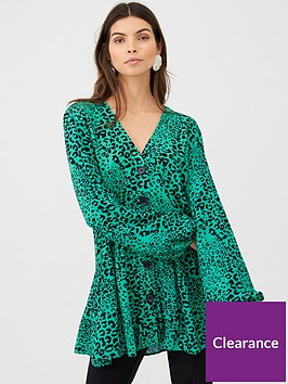 v-by-very-longline-button-through-blouse-green-print