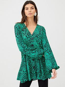 V by Very V By Very Longline Button Through Blouse - Green Print Picture