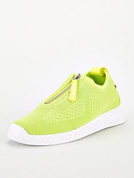 DKNY Dkny Melissa Mesh Zip Detail Slip On Trainers - Lime Green Picture